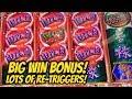 BIG WIN- RETRIGGERS- DRAGON LANTERNS SLOT BONUS