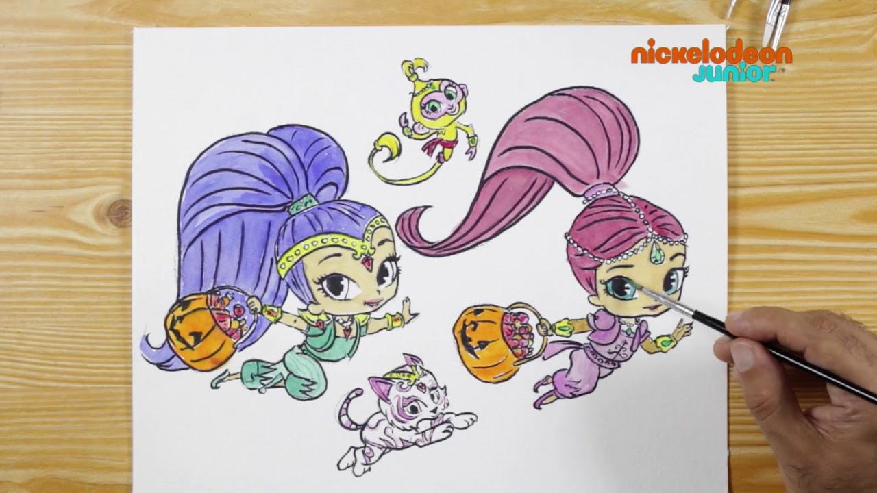 1 2 3 Coloriage Soirée Dhalloween Nickelodeon Junior