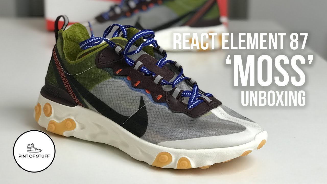 Decisión Nuez chisme  2 FUTURE 4 U - Nike React Element 87 'Moss' Sneaker Unboxing - YouTube