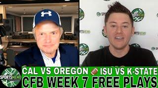 NCAAF Week 7 Picks and Predictions | California vs Oregon | Iowa State vs Kansas State Free Plays