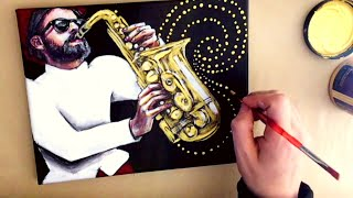 STEP by STEP, Time-lapse, Acrylic Painting, Man Playing a Saxophone