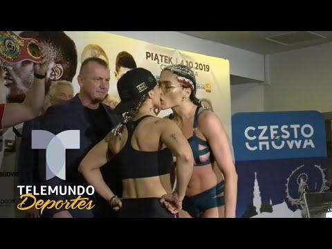 Vídeo: boxeadora beija adversária na boca durante encarada e leva tapa