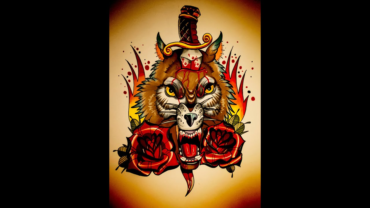 How to draw an old school wolf roses and dagger tattoo style how to draw an old school wolf roses and dagger tattoo style design by thebrokenpuppet youtube ccuart Choice Image