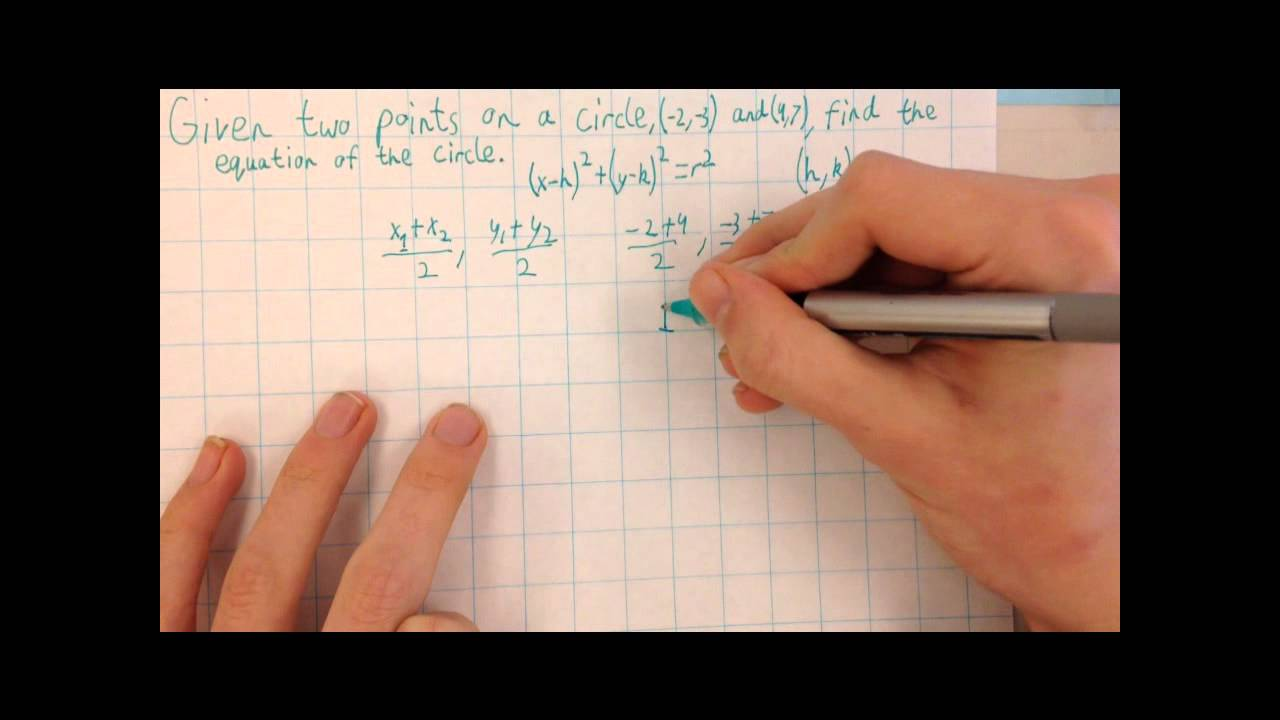 Finding the equation of a circle given two points