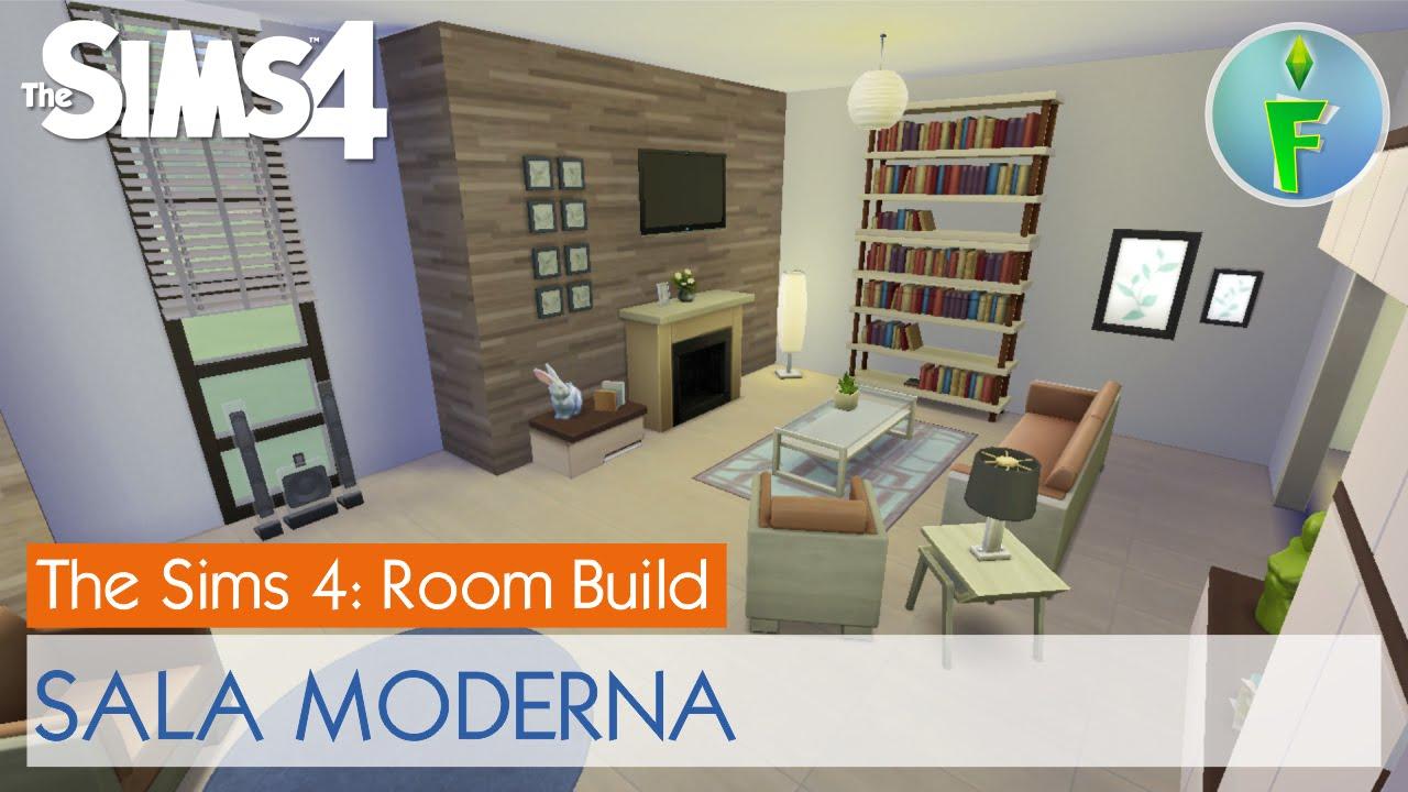 Sims 4 room build sala moderna modern living room for Sala de estar sims 4