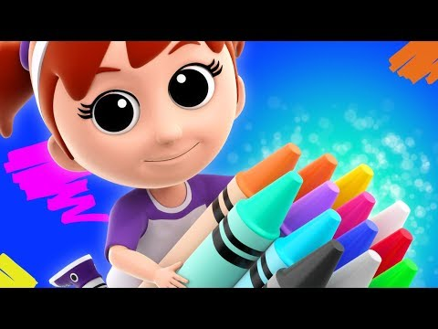 Crayons Color Song   Learn Colours   Nursery Rhymes For Children   Luke and Lily Cartoons