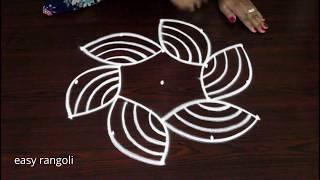 How to Draw Beginners rangoli kolam  with 5 dots - Muggulu designs