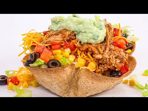 """How To Make Healthy Taco Salad With Instant Pot """"Rotisserie"""" Chicken 