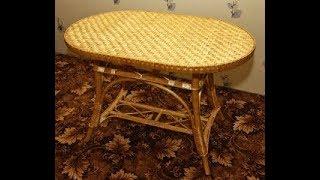делаем на столе плетеное полотно из лозы можно и на табуретке