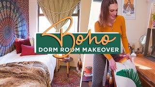 A Plant and Patterned Boho Dorm Room Makeover!