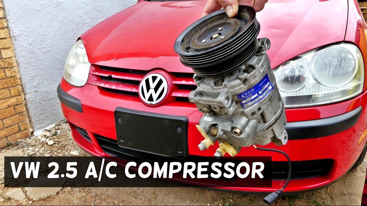 VW RABBIT JETTA 2 5 AC COMPRESSOR REPLACEMENT REMOVAL