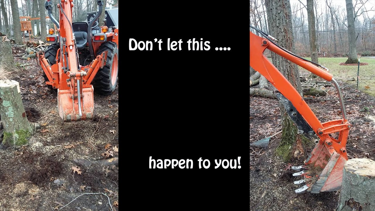 how to dig up tree stumps with a small tractor backhoe