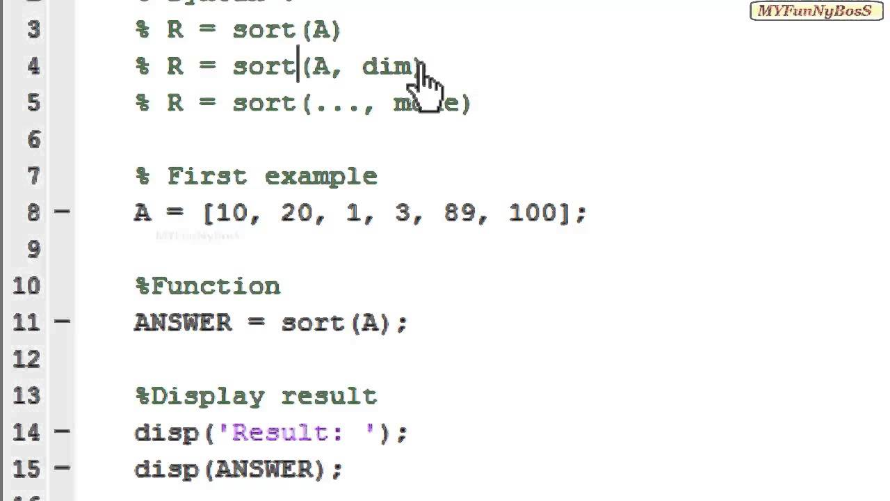 Matlab Function - Sorting Elements of Array-sort( )