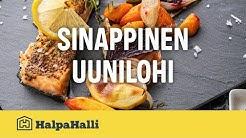 Sinappinen uunilohi ja paahdetut kasvikset • Hyvän Arjen Resepti • HalpaHalli