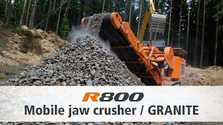 Jaw Crusher R800 of Rockster crushing of Granite