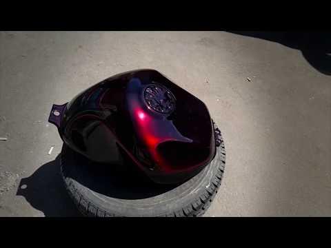 Покраска мотоцикла из красного кенди в черный цвет  'Кенди на черное' / Candy paint on black