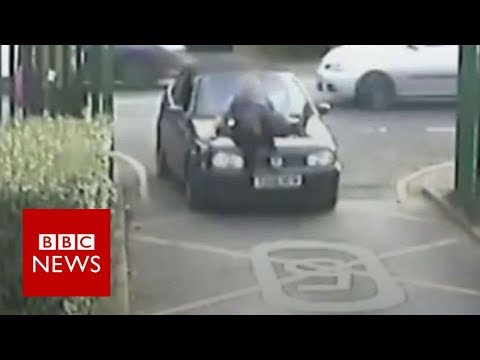 CCTV shows 'school run rage' incident - BBC News