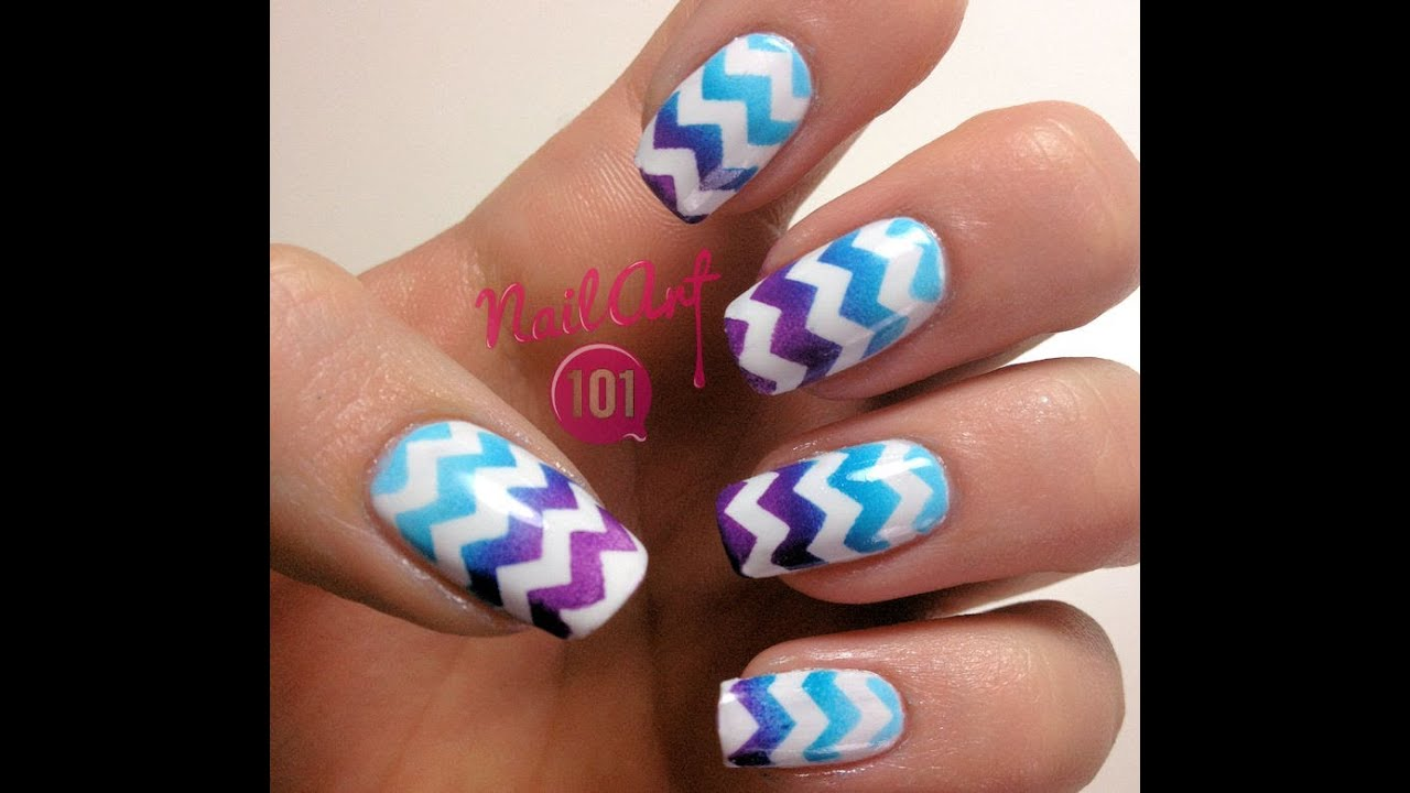 Gradient Chevron Tutorial with Nail Vinyls - YouTube