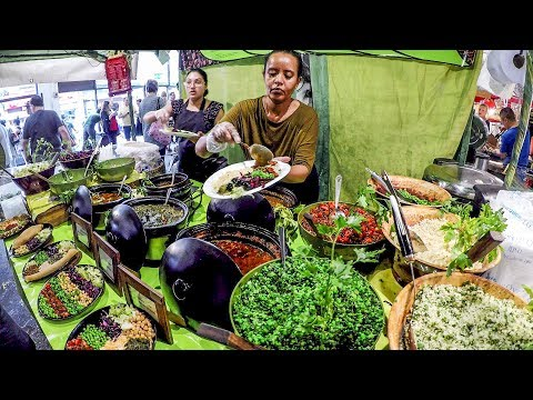 The Colourful Bright Vegetarian Food from Ethiopia, Africa. Street Food of London