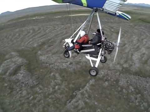 Flying around Lake Mývatn in Iceland