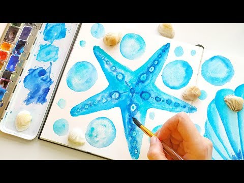 Watercolor Seafish and Seashell Painting Tutorial - DIY Coastal Wall Art Ideas For Home Decor