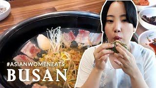 부산맛집 Busan's Must Eat Food - Galmi Clam, Pork Bone Soup & Ssiat (Seed) Hotteok! #AsianWomanEats