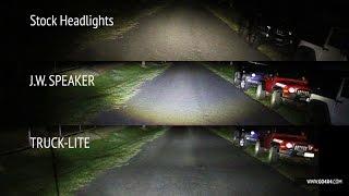 jw speaker vs truck lite led vs stock headlights on jeep wrangler jk