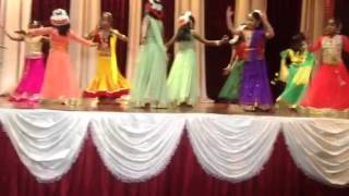 Adithi dancing at the Annual event of her Bharatanatyam Class