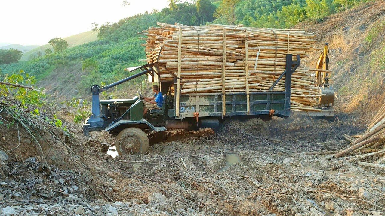 Daewoo 6 Máy Chở 15 Tấn Ngập Lầy Cả Cầu Và Tời Kinh Điển   Daewoo 6 machines carry 15 tons of wood