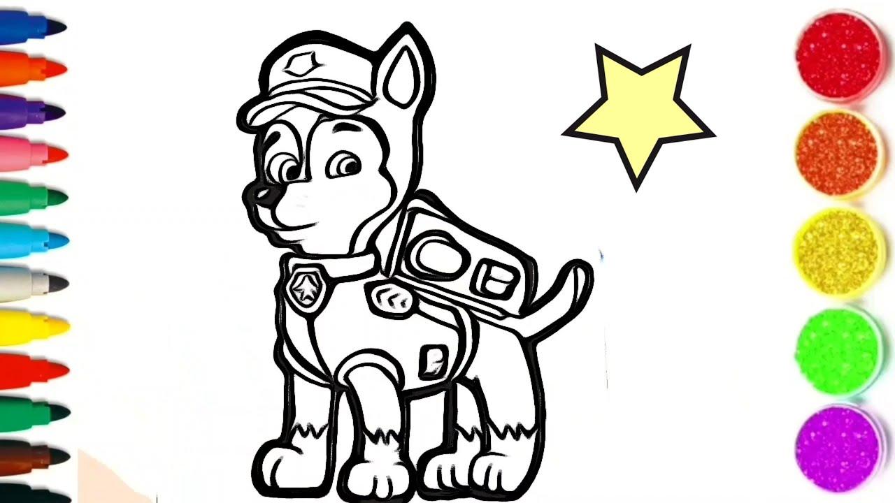Comment Dessiner Et Colorier Chase De La Pat Patrouille How To Draw Colors For Kids Tt45 Youtube