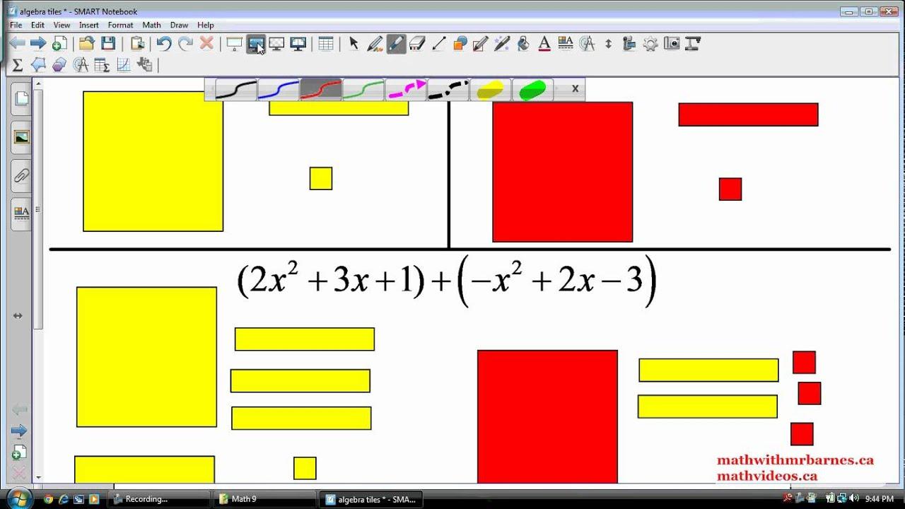 Adding Polynomials using Algebra Tiles - YouTube [ 720 x 1280 Pixel ]