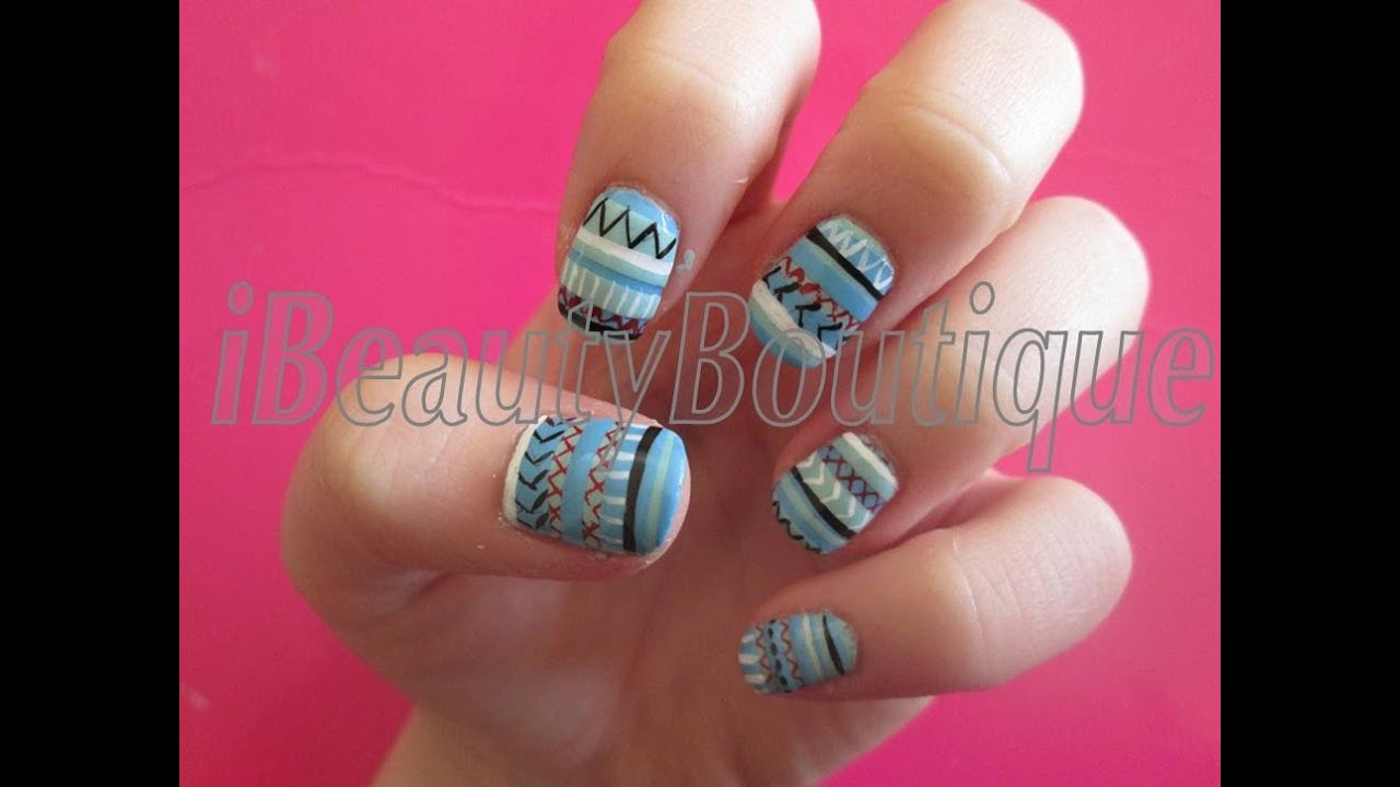 Indie Pattern Inspired - Nail Art | iBeautyBoutique - YouTube
