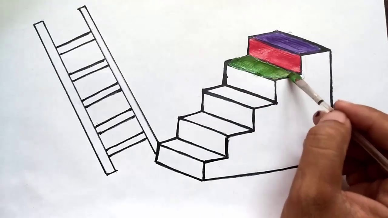 Easy And Simple Stairs Drawing Stairs Drawing For Beginners Art For Class To Learn Quickly Youtube