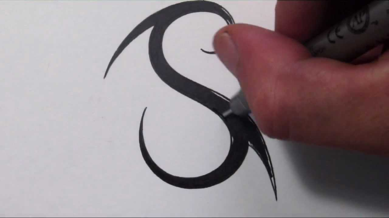 how to draw a simple tribal letter s youtube. Black Bedroom Furniture Sets. Home Design Ideas