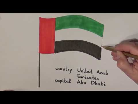 Learn geography for kids How to draw a flag United Arab Emirates