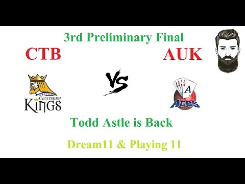 CTB Vs AUK || 3rd Preliminary Final || Dream11 team in Hindi