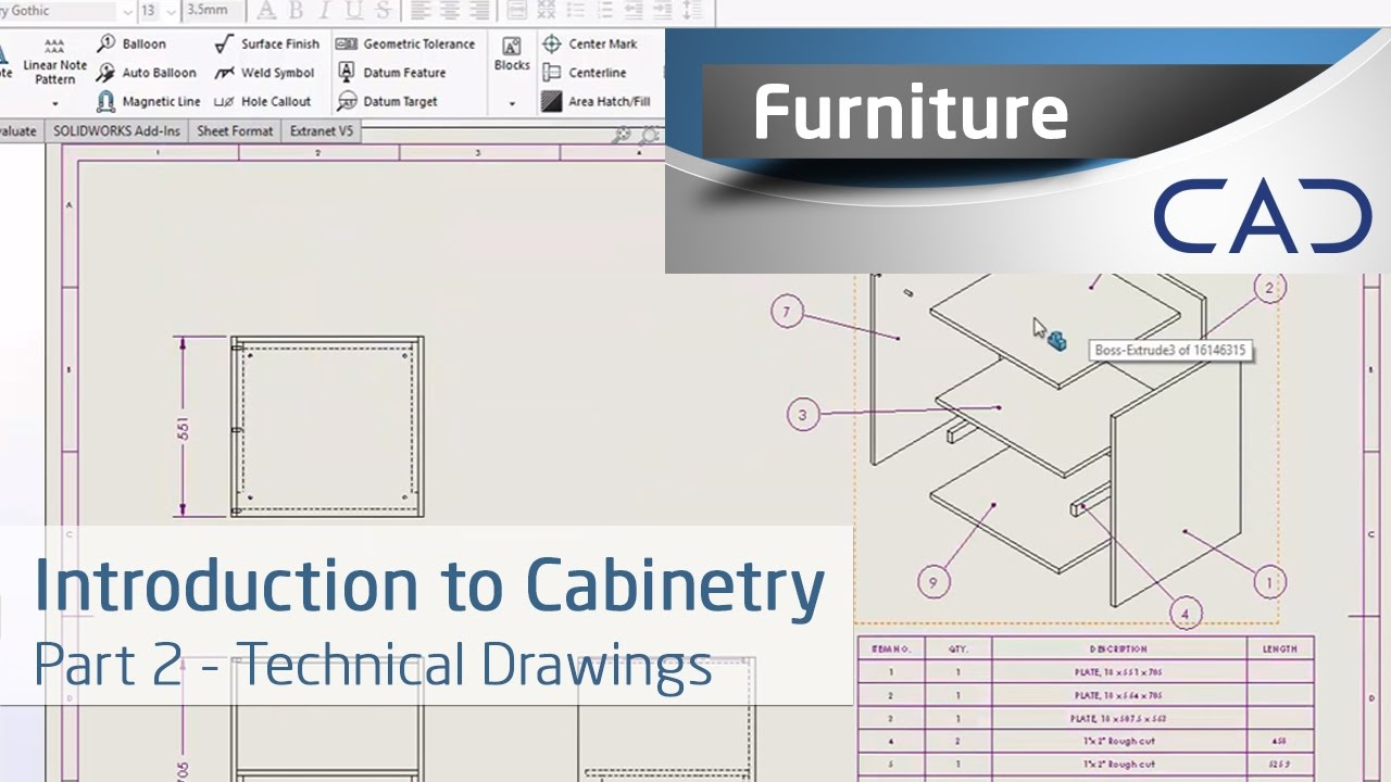 Introduction to Cabinetry in SOLIDWORKS - Technical Drawings