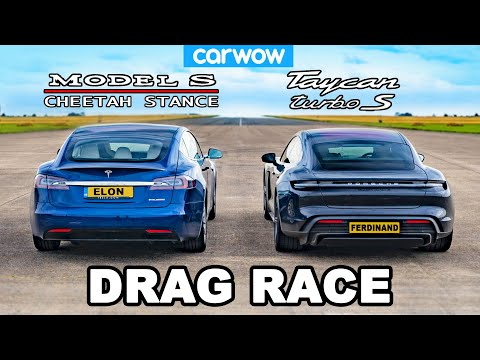 Tesla Model S Cheetah Stance vs Porsche Taycan Turbo S: DRAG RACE!