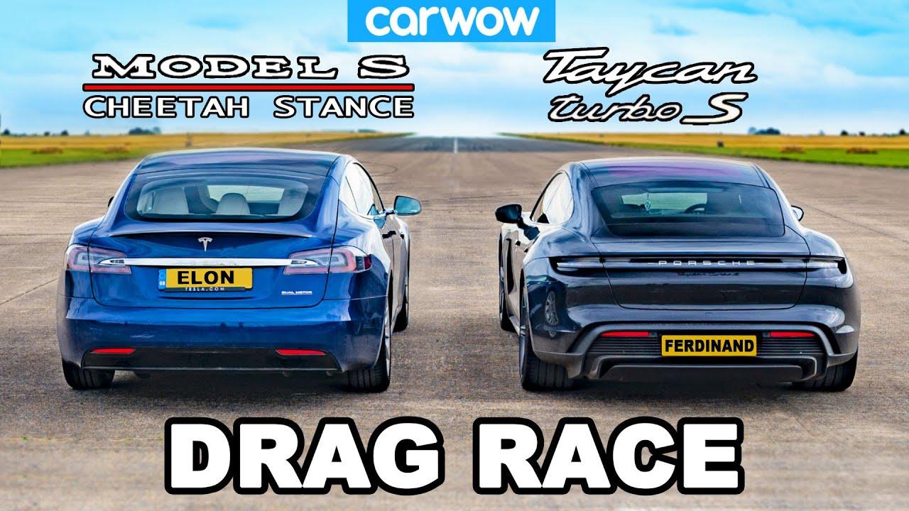 Tesla Model S Cheetah Stance vs Porsche Taycan Turbo S: DRAG RACE!