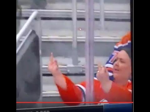 NHL Edmonton Oilers San Jose Sharks Playoffs OT Winner Middle Finger Lady