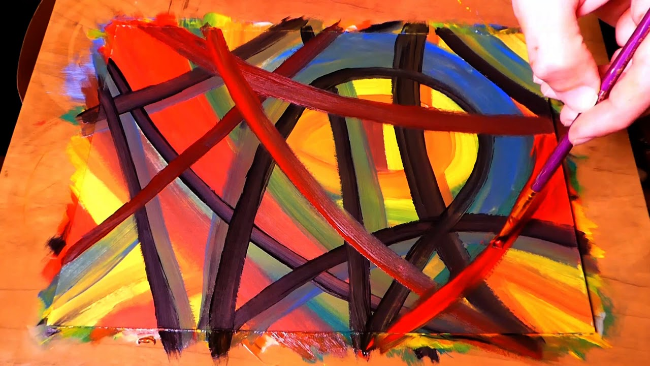 Abstract Painting How To Paint Abstract Crossing Lines For Beginners Demonstration