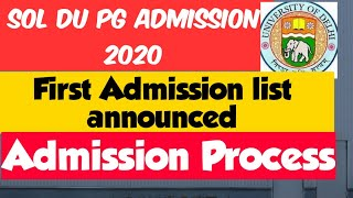 SOL du Pg first Admission list declared 2020| SOL pg Admission 2020