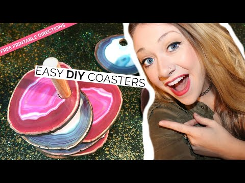 DIY FAUX AGATE COASTERS | HOW TO MAKE COASTERS + DIY COASTER STAND | DOLLAR TREE DIY