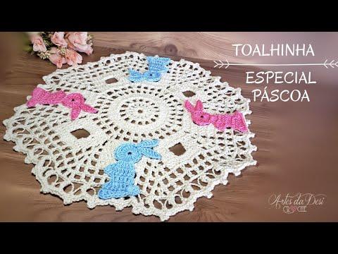 Toalhinha de Crochê Especial de Páscoa com Coelhinhos ~ Artes da Desi