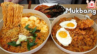 Couple Mukbang│Cook and eat Spam kimchi fried rice and Soft tofu Yeol Ramyeon.