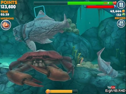 Hungry Shark Evolution Big Daddy (Dunkleosteus) Defeating Giant Crab