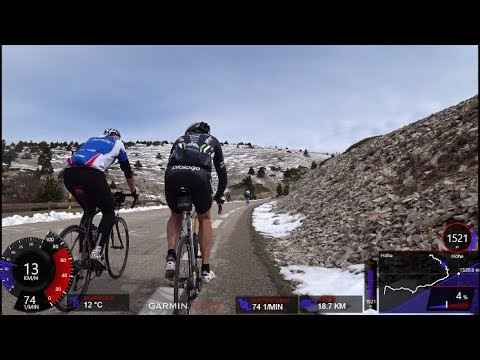 120 Minute High Intensity Uphill Indoor Cycling Bédoin Mont Ventoux Snow Tour de France Full HD