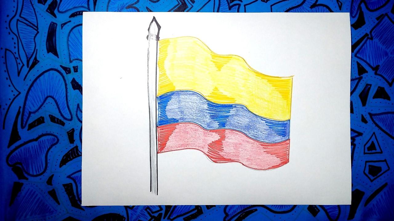 Aprende a dibujar la bandera Oficial de Colombia con colores - YouTube