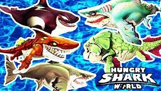 Hungry Shark World  - Top 5 Best Sharks (Megalodon, Atomic, Zombie, Big Momma, Killer Whale)