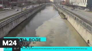Яуза у Преображенской набережной окрасилась в необычные цвета - Москва 24